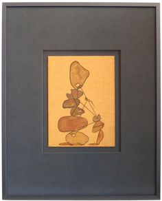 """17137- Rob Delamater, 2001, Charcoal and Pastel on Vintage Book Cover, 16""""x20"""" Framed #abstract #stones"""