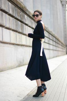 Dress: Celine (Similar) // Boots: Acne // Sunglasses: Celine // Bag: Saint Laurent