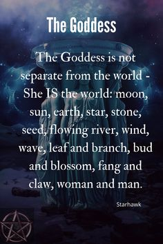 The Goddess is the World! Witchcraft Spell Books, Wiccan Spell Book, Pagan Witchcraft, Wicca For Beginners, Witchcraft Spells For Beginners, Goddess Symbols, Wiccan Symbols, Wiccan Quotes, Witch Characters