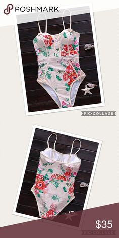 NWT ONE PIECE SWIMSUIT FLORAL NWT in plastic swimsuit sizing as follows states size large measurements as follows: Bust: 32.28	Waist: 27.56	Length: 22.44 Swim One Pieces