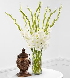 FTD At Peace Bouquet  $57.90    The FTD At Peace Bouquet is an elegant and sophisticated symbol of sweet serentiy. Brillliant white gladiolus are arranged in a clear glass cylinder vase to create a lovely way to convey your deepest sympathies for their loss.