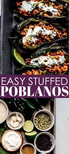 Stuffed Poblano Peppers loaded with a mixture of beef & rice and topped with a zesty lime-crema. This healthy recipe will be on your table in 30 minutes. // stuffed peppers // mexican // easy Lunch Recipes, Vegetable Recipes, Mexican Food Recipes, Chicken Recipes, Ethnic Recipes, Stuffed Poblanos, Stuffed Poblano Peppers, Best Dinner Recipes, Delicious Dinner Recipes