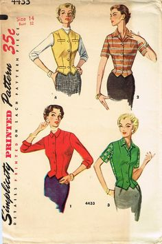 1950s Vintage Simplicity Sewing Pattern 4433 Uncut Misses Fitted Jacket Size 14