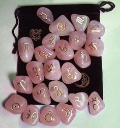Rose Quartz Astrology Rune Stone set - Symbols included are the 12 Zodiacal Signs and 12 Symbols are Planetary Correspondents. Crystals And Gemstones, Stones And Crystals, Swarovski Crystals, Magick, Witchcraft, Rune Stones, Healing Stones, Modern Witch, Witch Aesthetic