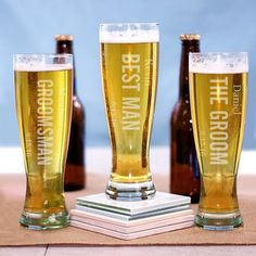 Pilsner Glass 16 oz. with vertical design, Personalized, engraved. Bridesmaid gift, groomsman gift, wedding party gift, bride gift, groom gift, father gift, mother gift