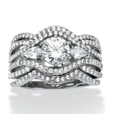 3 Piece 3.40 TCW Round Cubic Zirconia Bridal Ring Set in Platinum over Sterling Silver at PalmBeach