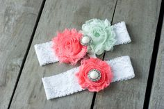 Coral and Mint Wedding Garter Set, Bridal Garter, Wedding Garter, Shabby Chic Garter, Satin Garter