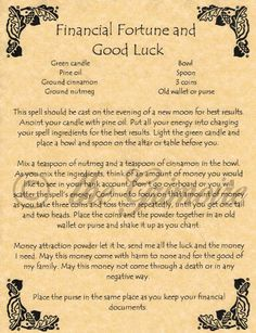 Book of Shadows Spell Page, FINANCIAL FORTUNE & GOOD LUCK, Wicca, Witchcraft BOS | eBay