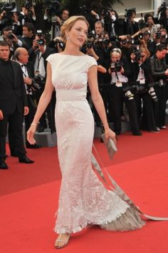 Uma Thurman on the red carpet in Cannes