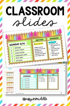 Use classroom slides to establish routines and plan lessons! 3rd Grade Classroom, Kindergarten Classroom, School Classroom, Classroom Activities, Classroom Ideas, In The Classroom, Future Classroom, Classroom Objectives, Science Classroom