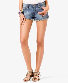 Destroyed Frayed Denim Shorts | FOREVER21 #DestroyedDenim only $8.80 get them while they last! #Summer #MustHave #Basics