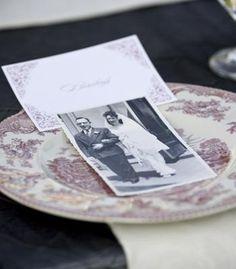 Black and white wedding photographs used for table cards   Photo by Jason Groupp and Jennifer Davis