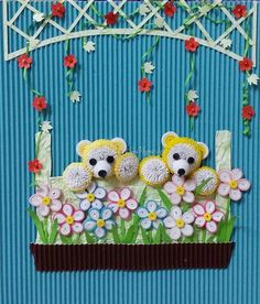 Quilling about flowers and animals: unknown artist
