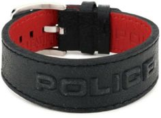 """Police """"VEGAS"""" Black Leather Bracelet with 3D Police Logo Police. $60.00. packing: jewelry box with  cushion (90-pj-09). Band size :  adjustable. Stainless steel buckle. Black  leather bracelet with 3d police logo. Made in Hong Kong"""