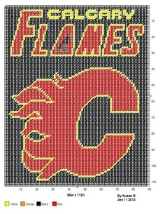 CALGARY FLAMES LOGO - WALL HANGING by SUSAN B. Afghan Crochet Patterns, Cross Stitch Patterns, Knitting Patterns, Blanket Crochet, Crochet Afghans, Doll Patterns, Calgary, Plastic Canvas Tissue Boxes, Plastic Canvas Patterns