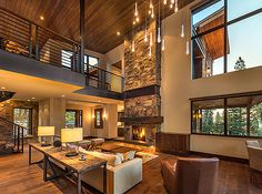 Brody Residence # 86 :: Olana Drive, Truckee, CA. Dream House Interior, Dream Home Design, Modern House Design, Home Interior Design, Modern Houses, Chalet Interior, Modern Mountain Home, Design Case, Great Rooms