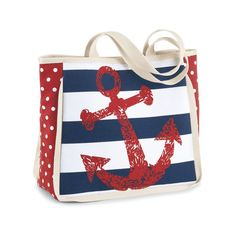 Anchors Away Stripes And Dots Tote Red Navy ($30) ❤ liked on Polyvore featuring bags, handbags, tote bags, navy stripe tote, tote purse, cotton tote bag, navy striped tote and tote handbags