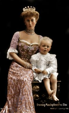 Queen Maud of Norway, daughter of British King Edward VII, with her young son Prince Olav, (future King Olav V of Norway).  Photo colourized by a web artist Justine.