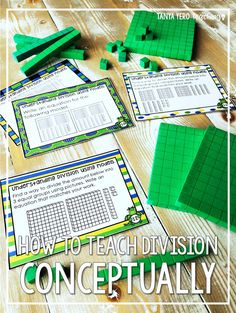 Learn how to teach division conceptually rather than having your students memorize a formula. Tips for teaching division are included! These tips can easily be implemented in your grade or grade classroom. FREE MATH TASK CARDS are included! Teaching Division, Division Activities, Math Activities, How To Teach Division, Teaching Kindergarten, Teaching Ideas, Stem Teaching, Elementary Math, Upper Elementary