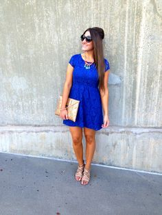 The Style Storm + Blue Lace Urban Outfitters Dress +Topshop Tribal Statement Necklace + Aldo