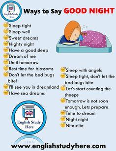 Say good night in english - english study here english study, learn english English Sentences, English Verbs, Learn English Grammar, English Vocabulary Words, Learn English Words, English Phrases, English Fun, English Language Learning, English Study