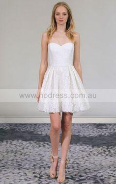 Zipper Short A-line Natural Sweetheart Wedding Dresses iddf1001--Hodress