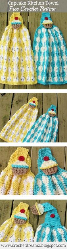 Cup Cake Kitchen Towel Crochet Pattern, Free Crochet Pattern #CrochetGifts