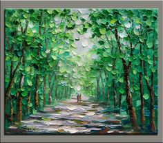 Easy lush green trees path. 40 Impasto Painting Ideas And Techniques For Beginners