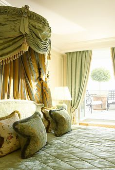 Louis XV Suite with green colors and unique terrace at the Hôtel de Crillon Paris, France