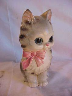 VINTAGE LARGE JOSEF ORIGINALS CAT PINK RIBBON BLUE EYE KITTEN FIGURE FIGURINE | eBay
