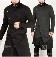 Asymmetry Button Closure Layer Hig Collar Zip Up Jacket 123