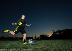 I love this action soccer shot of Havanah. No, this is not a Photoshop composite. Shot at sunset with strobes.