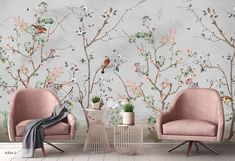 Pink White Flowers Birds Floral Background Wallpaper Restaurant Office Bathroom Living Room Bedroom Cafe Wall Decor Mural Art by wallpaew on Etsy Chinoiserie Wallpaper, Bird Wallpaper, Custom Wallpaper, Gold Abstract Wallpaper, Leaves Wallpaper, Wallpaper Murals, Bathroom Wallpaper, Mural Floral, Floral Wall