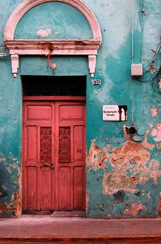 #pink #door + #green wall