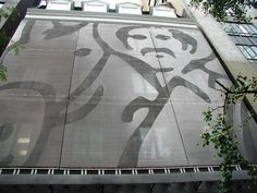 GKDMETALFABRICS | Juan Valdez etched graphic advert sustainable sunshade facade