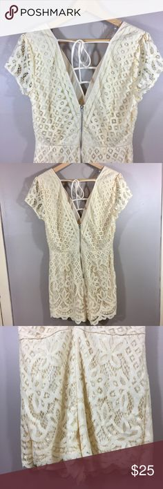 Charlotte Russe Women's Lace Romper Size L Type:Rompers  Style:Super Low lace  Color: cream  Conditions: New with Tags Country Manufacture:china   Please compare measurement to own favorite clothing to help avoid having a return. Measurements are approximate:   Length:   Please look at the pictures for the details,and contact me for any questions. Thanks for looking at my listing. Charlotte Russe Dresses