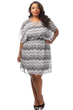 Plus size Chevron Print Chiffon Dress