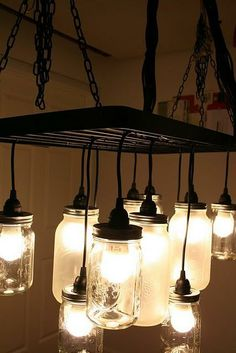 Mason jar light--would be awesome in my diningroom!