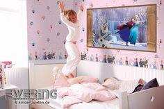Disney Deco 02 - Die Eiskönigin kommt mit Wandbild, Tapete und Borte in das Mädchenzimmer.