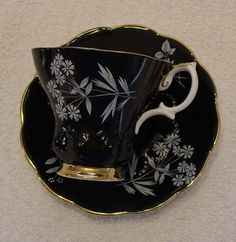 Black with White Flowers Teacup  Royal Albert Bone by KweenBee, $40.00