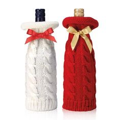 Raise your glass. Celebrate and toast the host with a glass of bubbly, bordeaux or merlot. Keep the bottle festive with the Cable-Knit Wine Sweater. $9.99 each #wine #winelovers #christmasparty #holidayparty