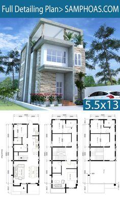 Modern Home Plan With 6 Bedroom - SamPhoas Plan Sims House Plans, Duplex House Plans, Dream House Plans, Small House Plans, House Floor Plans, House Plans With Photos, House Front Design, Small House Design, Modern House Design