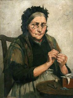 It's About Time: Older Women Sewing 1800-1900s Frederick Millard (British artist, 1857-1937) The Thread of Life Runs Smooth As Yet