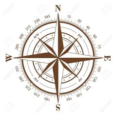 Brown Compass Rose Isolated On White Royalty Free Cliparts ...