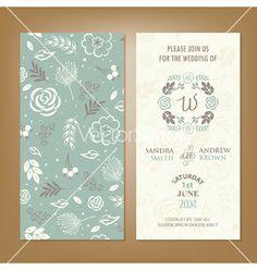 Wedding invitation green florals vector by ARNICA on VectorStock®