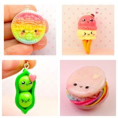 Miniature Food Jewelry Kawaii Charm Polymer Clay Handmade by Sweetie Clay Creations Oreo Ice Cream Two Peas in a Pod Macaroon