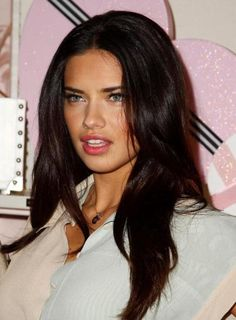 Adriana Lima Dark Brown Hair. Tooooo pretty. I wish I had this naturally. :(
