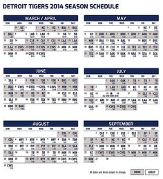 2014 Detroit Tigers Schedule.