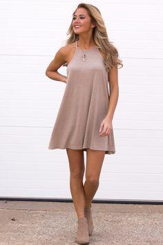 Ribbed Tank Dress - Taupe