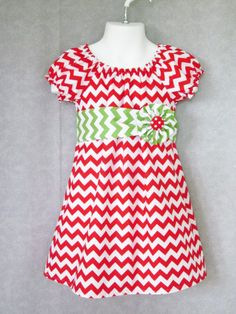 e5fac3e161373 Modern Peasant Dress with Sash and Flower Clip - Christmas Holiday Red and Green  Chevron zig